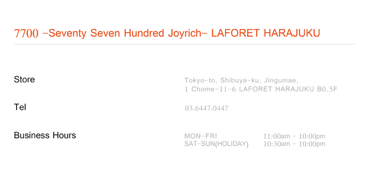 7700 seventy seven hundred joyrich laforet harajuku. Black Bedroom Furniture Sets. Home Design Ideas